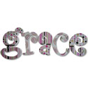 Grace's Stripes and Dots Wall Letters, Girls Wall Letters | Kids Wall Letters For Nursery | ABaby.com