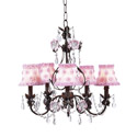 Pink and Mocha 5 Arm Flower Garden Chandelier, Nursery Lighting | Kids Floor Lamps | ABaby.com