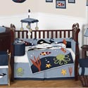 Ocean Blue Crib Bedding Collection, Boys Crib Bedding Sets - Crib Sets for Boys with Sheets & Bumpers