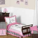 Paris Collection Toddler Bedding Set, Girls Toddler Bedding Sets | Little Girl Bedding | Baby