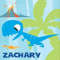 Personalized Blue Dinosaur Canvas Art, Nursery Wall Art | Baby | Wall Art For Kids | ABaby.com