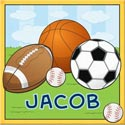 Personalized Sports Canvas Art, Sports Themed Nursery | Boys Sports Bedding | ABaby.com