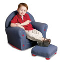 Kid's Denim Rocker and Ottoman, Kids Upholstered Chairs | Personalized Upholstered Chairs | ABaby.com