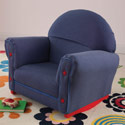 Upholstered Denim Rocker with Slip Cover, Kids Rocking Chairs | Kids Rocker | Kids Chairs | ABaby.com