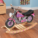 Flower Power Rock'n Motorcycle, Kids Rocking Horse | Personalized Rocking Horses | ABaby.com