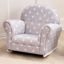 Gray with White Stars Upholstered Rocker, Kids Upholstered Chairs | Personalized Toddler Couch | Rocker | Recliner