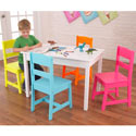 Highlighter Table and 4 Chair Set, Kids Table & Chair Sets | Toddler Tables | Desk | Wooden