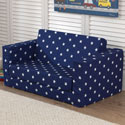 Navy Lil' Lounger with White Stars, Kids Upholstered Chairs | Personalized | Couch | Armchair