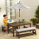 Striped Outdoor Table and Bench Set, Kids Table & Chair Sets | Toddler Tables | Desk | Wooden