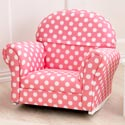Pink and White Polka Dot Upholstered Rocker