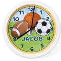 Personalized Sports Clock, Sports Nursery Decor | Sports Wall Decals | ABaby.com