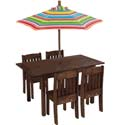 Table & Stacking Chairs with Striped Umbrella, Children Table And Chair Sets | Toddler Table And Chairs | ABaby.com