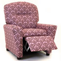 Pink Damask Recliner with Cup Holder, Kids Chairs | Personalized Kids Chairs | Comfy | ABaby.com