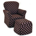 Pink Chocolate Dots Skirted Rocker and Ottoman, Kids Upholstered Chairs | Personalized Upholstered Chairs | ABaby.com