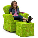 Lime Circles Skirted Rocker and Ottoman, Kids Upholstered Chairs | Personalized Upholstered Chairs | ABaby.com