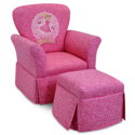 Pinkalicious Skirted Rocker and Ottoman, Kids Upholstered Chairs | Personalized Upholstered Chairs | ABaby.com