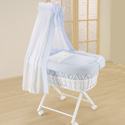 Baby in Blue Bassinet, Baby Bassinet Bedding sets, Bassinet Skirts, Bassinet Liners, and Hoods