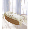 Petite Lamb Hanging Bassinet, Wicker Bassinets | Wicker Baby Bassinets | ABaby.com
