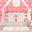 Coral Bows Ivory Silk Crib Bedding, Baby Girl Crib Bedding | Girl Crib Bedding Sets | ABaby.com