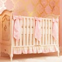 Ivory and Pink Silk Crib Bedding Set, Baby Girl Crib Bedding | Girl Crib Bedding Sets | ABaby.com