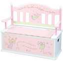 Fairy Wishes Toy Box Bench, Kids Storage Bins | Personalized Kids Toy Boxes | ABaby.com