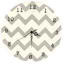 Chevron Gray Wall Clock, Kids Bedroom Decor | Clocks | Baby Picture Frames | ABaby.com