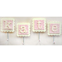 Pink Monogram Wall Hooks (Set of 2), Kids Shelves | Baby Wall Shelves | Nursery Storage | ABaby.com