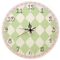 Pink & Green Harlequin Wall Clock, Kids Bedroom Decor | Clocks | Baby Picture Frames | ABaby.com