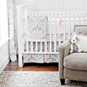 Stella Gray 3 Piece Crib Bedding Set, Baby Girl Crib Bedding | Girl Crib Bedding Sets | ABaby.com
