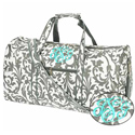 Personalized Grey Damask Duffle Bag,