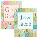 Classic Alphabet Personalized Canvas Art, Girls Wall Art | Artwork For Girls Room | ABaby.com