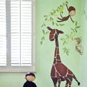 Giraffe & Monkey Wall Decal, African Safari Themed Nursery | African Safari Bedding | ABaby.com