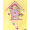 Koo Koo Yellow Bird Canvas Clock, Nursery Wall Art | Flower Wall Art | ABaby.com
