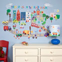 On the Road Again Wall Decal, Train And Cars Themed Nursery | Train Bedding | ABaby.com