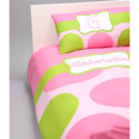 Pink & Green Dot Personalized Bedding,