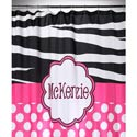 Hot Pink 'n Zebra Personalized Shower Curtain,