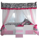 Pink Zebra Princesss Canopy Bed, Childrens Beds | Girls Twin Bed | ABaby.com