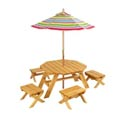 Octagon Table with 4 Stools and Striped Umbrella, Outdoor Toys | Kids Outdoor Play Sets | ABaby.com