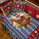 Lil Buckaroo Crib Bedding, Wild West, Western, Cowboy Themed Furniture, Decor For Childrens Rooms and Baby's Nursery.