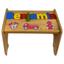 Personalized Fire Truck Wooden Puzzle Stool