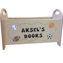 Personalized Natural Book Holder, Kids Toy Box | Personalized Toy Chest | Wood Toy Storage Bench | aBaby.com