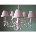 Dangling Crystals Light Pink Chandelier, Nursery Lighting | Kids Floor Lamps | ABaby.com