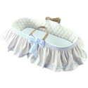 Skirted Gingham Moses Basket, Baby Baskets For Boys | Boys Moses Baskets | ABaby.com