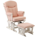 Plush Gingham Glider with Ottoman, Wood Glider | Sliech Gliders | ABaby.com