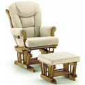 Plush Sleigh Glider with Ottoman, Wood Glider | Sliech Gliders | ABaby.com