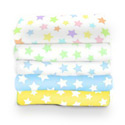Pastel Stars Woven Cotton Crib Sheet, Moon and Stars Themed Bedding | Baby Bedding | ABaby.com