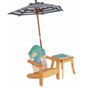 Outdoor Chair with Umbrella and Side Table, Kids Outdoor Furniture | Outdoor Table And Chair Sets | ABaby.com