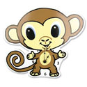 Chibi Monkey Wall Clock, African Safari Nursery Decor | African Safari Wall Decals | ABaby.com