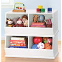 White and Pastel Stackable Storage Bins, Nursery Storage Solutions | Kids Toy Organizer | ABaby.com