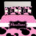 Personalized Light Pink Minnie Mouse Toddler Bedding ,